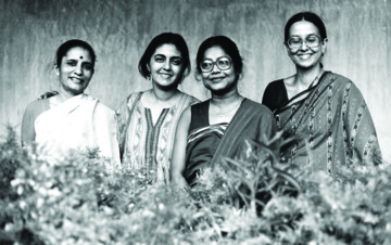 Artists Madhvi Parekh, Nalini Malani, Arpita Singh and Nilima Sheikh, 1987. Courtesy of Madhvi Parekh
