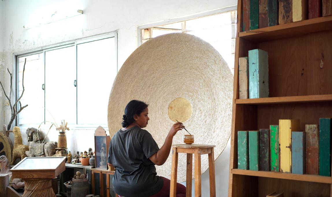 Benitha Perciyal in her Chennai studio, 2019. Courtesy of Galerie Mirchandani + Steinruecke