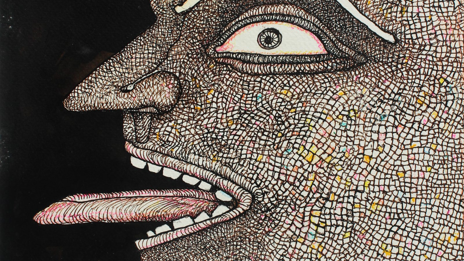 Jogen Chowdhru. Man with protruded tongue, 2013. Courtesy of Emami Art