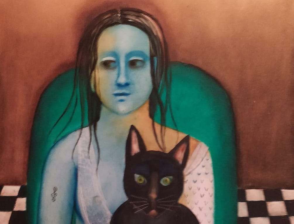 Anjolie Ela Menon. Woman with Cat. Oil on Masonite, 2019. Courtesy of Art Alive Gallery