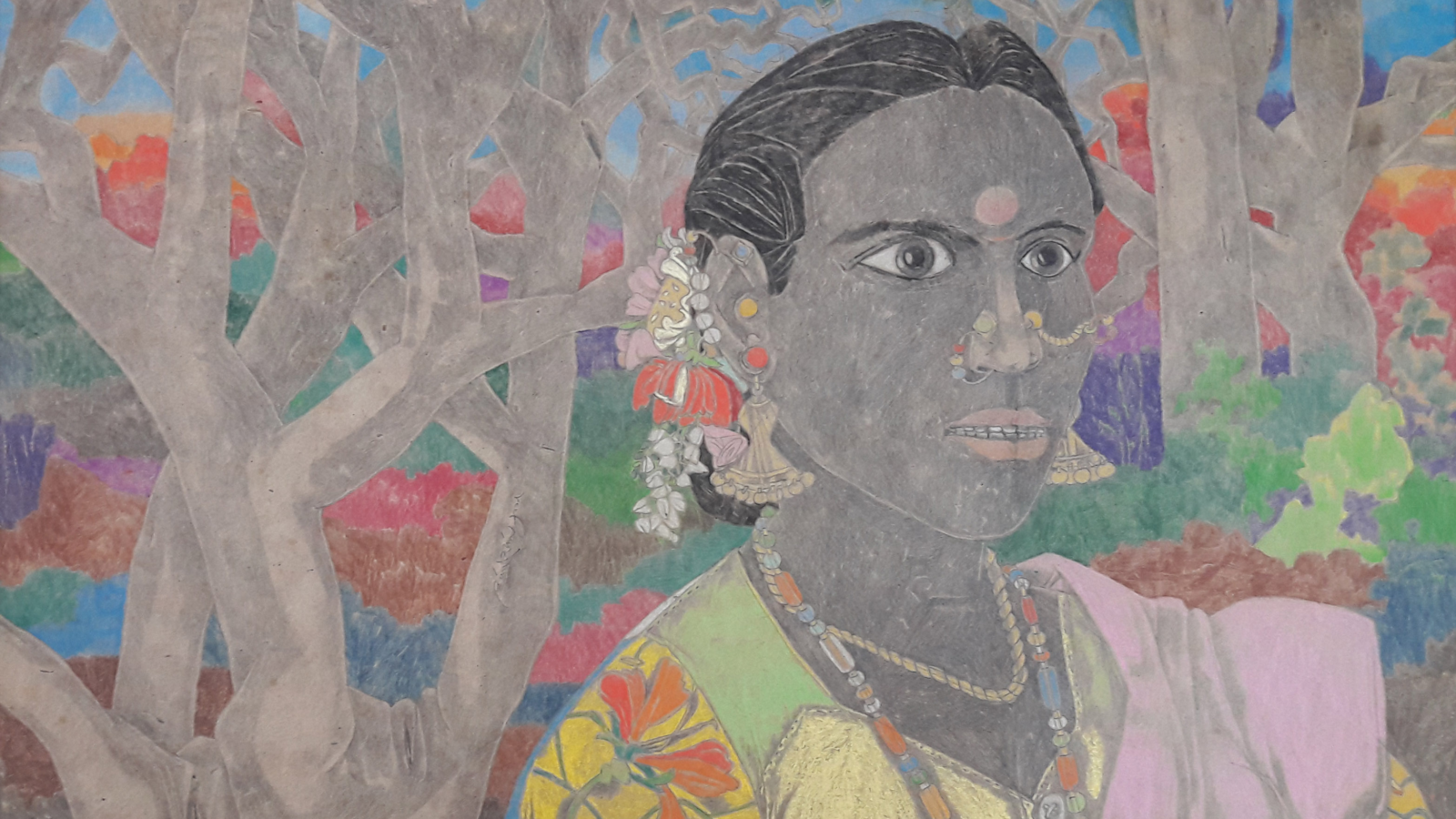 Laxma Goud. Untitled. Coloured pencil on paper. Courtesy of Apparao Galleries