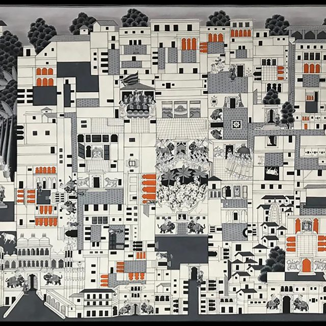 Pichvai Tradition & Beyond. Temple Map, 2019. Stone colours on cloth. Courtesy of Pichvai Tradition and Beyond