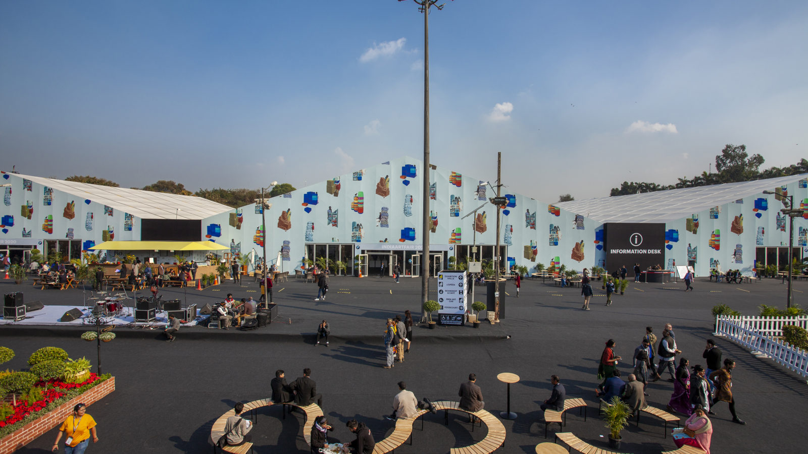 India Art Fair facade designed by Sameer Kulavoor. Installation view, 2019. Courtesy of India Art Fair