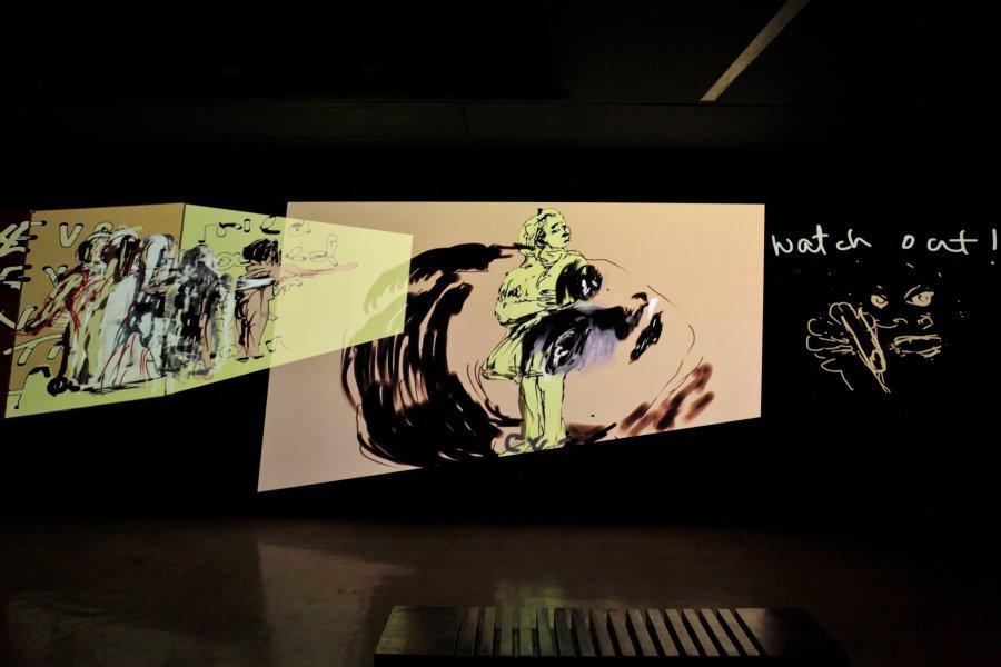 Nalini Malani. Can You Hear Me?, 2018-2020. Detail of animation chambre at Goethe Institut Mumbai © Nalini Malani