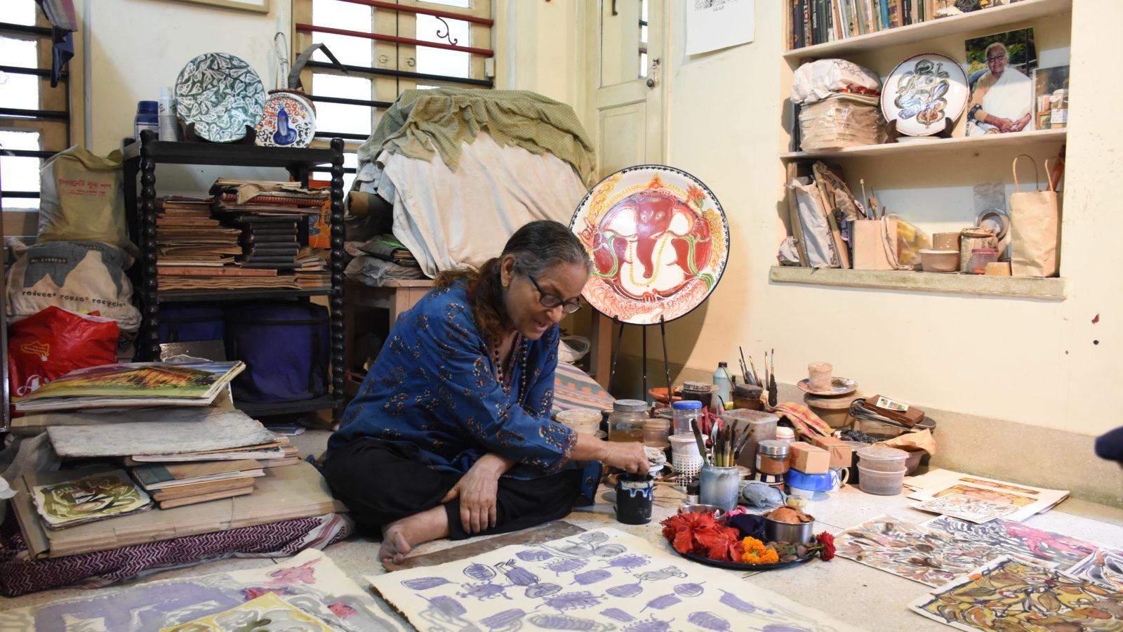 Arunima Chowdhury in her Kolkata studio, 2020. Courtesy of Emami Art