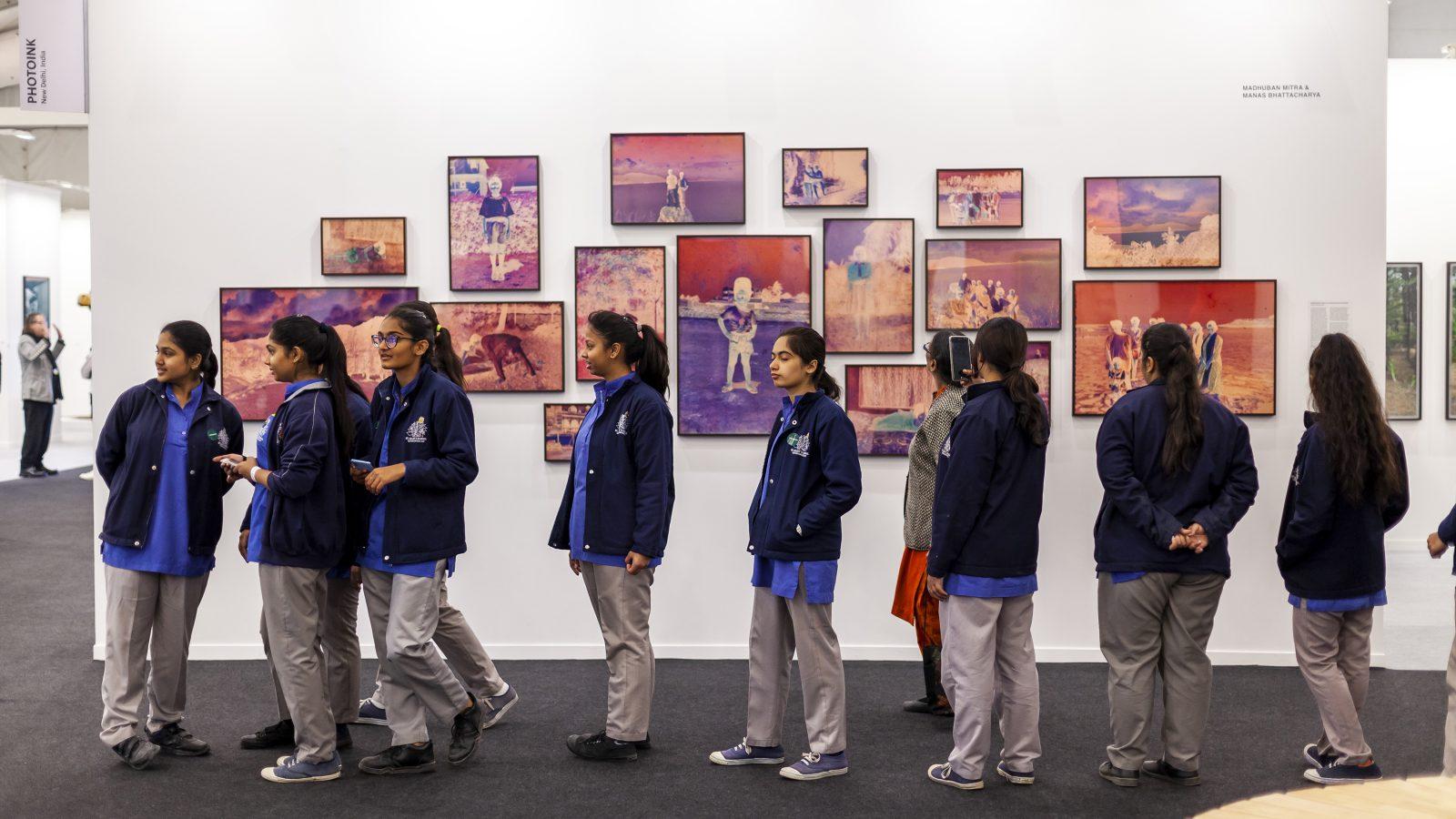 School students at India Art Fair, 2020. Courtesy of India Art Fair